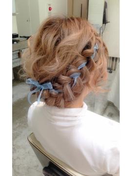 リボン編み込みヘア
